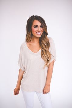 Dottie Couture Boutique - Oatmeal V Top , $16.00 (http://www.dottiecouture.com/oatmeal-v-top/)