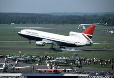 British Airways Lockheed L-1011-385-3 TriStar 500 G-BFCD landing hard during the Farnborough Air Show, September 1980. (Photo: AirNikon Collection-Pima Air and Space Museum)