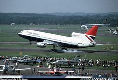 British Airways Lockheed L-1011-385-3 TriStar 500 G-BFCD landing hard during the Farnborough Air Show, September 1980. (Photo: AirNikon Collection-Pima Air and Space Museum)