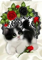 Kitty With Red Roses On Black Lace Heart A4