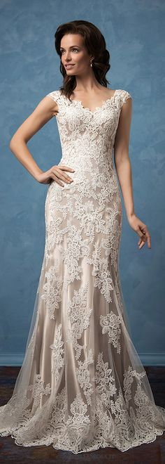 Gorgeous Tulle & Satin V-Neck Sheath Wedding Dresses With Lace Appliques