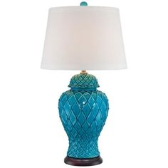 Lavoie Turquoise Trellis Ceramic Table Lamp -