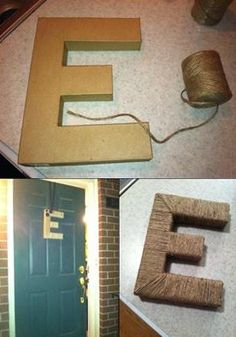 DIY Monogram Wreath- cardboard letter and twine, easy!