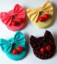 Rockabilly Polka dot Fascinator with cherries, Pin Up, Retro hair VARIOUS COLOURWAYS Multi listing