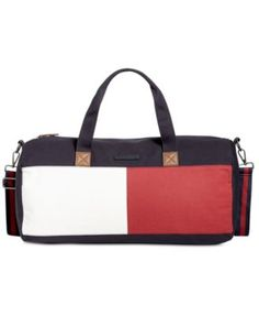 TOMMY HILFIGER Tommy Hilfiger Flag Colorblock Duffel. #tommyhilfiger #bags #leather #travel bags #weekend #canvas #