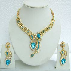 Sky #Blue and Off #White Stone Studed #Necklace Set Online Shopping: JNC2054