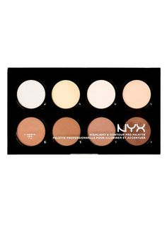Define your features like a pro with NYX's refillable highlight and contour palette! Each NYX Highlight & Contour Pro Palette includes eight customisable highlighting and contouring shades. Dupe Makeup, Contouring Makeup, Highlighter Makeup, Contouring And Highlighting, Makeup Kit, Makeup Geek, Makeup Brush, Makeup Ideas, Palette Nyx