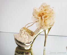 luxury shoes oro con tacco impermeabile fiore pompa i pattini del partito prom shoes