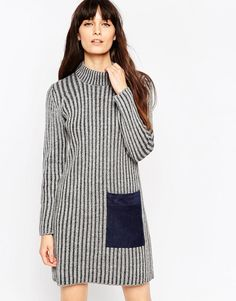ASOS+Chunky+Rib+Shift+Dress+With+Suedette+Pocket