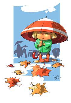 деFочка Landscape Artwork, Landscape Drawings, Cool Landscapes, Autumn Illustration, Landscape Illustration, Cartoon Drawings, Cute Drawings, Vintage Landscape, Black And White Drawing