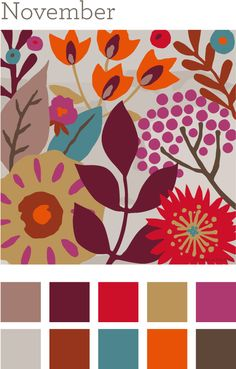 2.  Be inspired by the modern autumn color palette and create a layout that features at least 4 of these colors.  - 2 pts.