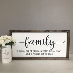 Family Sign-A Little Bit of Crazy, A Little Bit of Loud, And A Whole Lot of Love. : Family Sign-A Little Bit of Crazy, A Little Bit of Loud, And A Whole Lot of Love-Fixer Upper-Farmhouse Sign-Mother's Day-Home Decor-Rustic – – Country Farmhouse Decor, Farmhouse Style Kitchen, Modern Farmhouse Kitchens, Farmhouse Signs, Rustic Decor, Farmhouse Interior, Primitive Decor, Home Decor Signs, Diy Signs