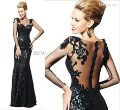 Discount 2014 Sexy Long Sleeve Black Mermaid Evening Dress For Women Formal Gown with Backless And Lace Details Online with $135.0/Piece | D...