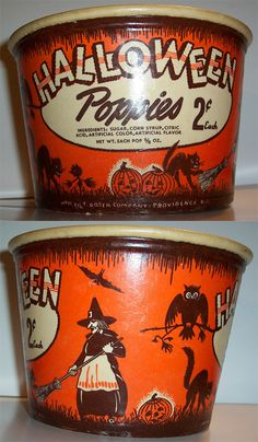 Vintage Halloween Ephemera ~ Halloween Poppies 2¢ Candy Bucket