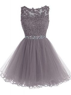 Grey Short Lace Prom Dress 2017