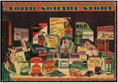 Date: 1950-1959   The image shows a montage of advertising labels for products sold at Four Square stores: Weet bix, Pam's baking powder, Peter the Pilot's O-Tis energy food,Milo, Sanitarium puffed wheat, Listerine toothpaste, Chesdale cheese, Windolene, Johnson's baby powder, Wylie's Brufax, Quickshine floor polish, Sunshine packet soup, Yates' reliable seeds, Bovo meat extract, Sunshine Jellies, Glacia table salt, Aerofos aerator, Palmolive soap. A woman looks at the display from the far…