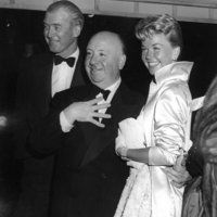 Doris Day, Alfred Hitchcock and James Stewart.