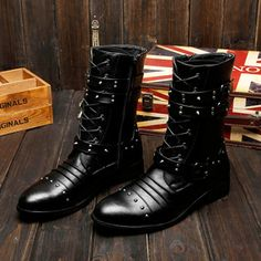 Spring Men Doc Martens Boots Rivet MEN'SSHOES England Style Leather Boot Fashionable Boot Boys' Boots