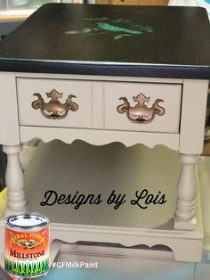 Designs by Lois, https://www.facebook.com/designsbylois2, gave this end table a handsome new look with General Finishes Millstone Milk Paint. Get expert tips on how to apply GF Milk Paint by watching this video, https://www.youtube.com/watch?v=c6QK6Nd4_Ig