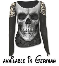 A gothic long-sleeve top for women, by UK clothing brand Spiral Direct, with a large frontal skull print and gorgeous lace accents at shoulders. Lacy Tops, Black Lace Tops, Skull Fashion, Dark Fashion, Emo Fashion, Gothic Fashion, Crane, Goth Shop, Mode Sombre