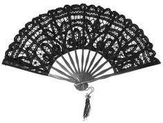 black lace wood fan Éventail noir bois et dentelle