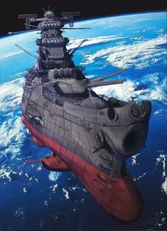 Space Battleship Yamato 2199 aka Argo from Starblazer animated series Space Fantasy, Sci Fi Fantasy, Interstellar, Guerra Anime, Manga Anime, Star Blazers, Space Battles, Spaceship Concept, Sci Fi Ships