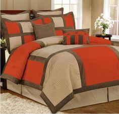 Orange And Grey Comforter Sets Gray Set Ecfq Info Orange Bedding, Bedroom Orange, Bedroom Colors, Bedroom Sets, Bedroom Decor, Brown Bedding, Bed Cover Design, Bed Design, Grey Comforter Sets