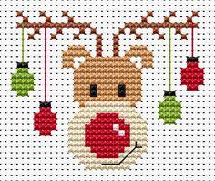 Ricamo natalizio, renna a punto croce.