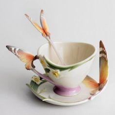 Franz Papillon Mariposa Diseño Esculpidas Porcelana Taza, platillo y cuchara Set | Objetos de colección, Adornos de colección, Jarrones | eBay!