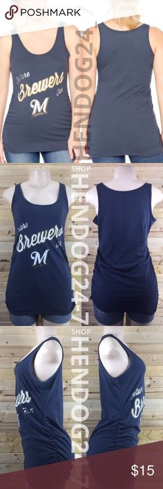 MOTHERHOOD MLB FUTURE FAN MILWAUKEE BREWERS TANK NEW WITHOUT TAGS - NEVER WORN - LINE THROUGH BRAND LABEL.  MLB MILWAUKEE BREWERS MOTHERHOOD MATERNITY TANK TEE   - MOTHERHOOD MATERNITY MLB TANK TEE  - GRAPHICS: MLB TEAM LOGO OUTLINED W/ METALLIC SILVER   - MSRP $24.98  - PRODUCT CODE #006-97776-023-001  - SCOOP NECK LINE  - NAVY TOP  - TANK TOP  - SIDE RUCHING  - FINISHED HEM TRIM  - MATERIAL: 51% COTTON, 49% POLYESTER  - MACHINE WASHABLE COLD  - MADE IN GUATEMALA Motherhood Maternity Tops…