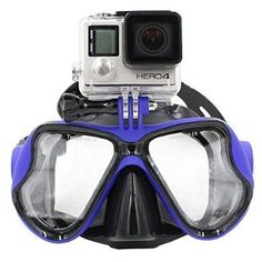 TRELC Mutli-function Diving Glasses Masks with Locking Mount Camera Accessory Kits for Gopro Hero 4/3+/3/2/1/GoPro Hero4 Session(Blue)