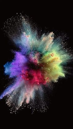 Colorful Explosion on Black Wallpaper