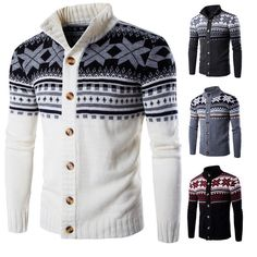 Mens Snowflake Printing Knitted Cardigan Sweater Single Breasted Stand Collar Sweater at Banggood