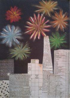 Sprakande konstverk på himlen!  Vi har gjort fyrverkerier i torrpastell och klippt ut skyskrapor i vanliga dagstidningar och klistrat fra...