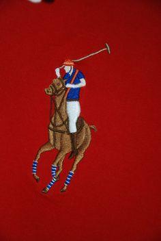 Based UK Ralph Lauren Polo Shirt Top Red Big Pony Mens Boys Young man White Long