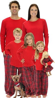 3d9f700c53 Red plaid matching family pajamas. Even for dolls and dogs! Matching Family  Christmas Sweaters