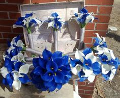 17 piece Real Touch Royal Blue White Calla Lily Bridal Bouquet Wedding Set, Royal Blue White Bouquet, Calla Lily Bouquet Blue Bouquet by SilkFlowersByJean on Etsy Calla Lily Bridal Bouquet, Calla Lily Wedding, Blue Wedding Flowers, Blue Bouquet, Flower Bouquet Wedding, Prom Flowers, Bouquet Flowers, Brooch Bouquets, Bride Bouquets