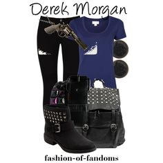 Derek Morgan by fofandoms on Polyvore featuring Witchery, STELLA McCARTNEY, Dara Ettinger and Bullet