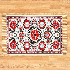 Red Suzani Dhurrie Rug