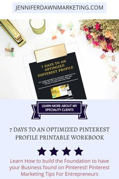 Learn how to build the foundation to your Pinterest Marketing Strategy in 7 Days, Learn how to use Pinterest for your business and find out more about my specialty clients. Perfect for any business. Start having people find you, your business, products & services. Download the PDF Printable Guide & Workbook. How To Use Pinterest For Business Business Products, Business Tips, Online Business, Marketing Strategies, Media Marketing, Set Up Email, Pinterest For Business, Social Media Graphics, Blogging For Beginners