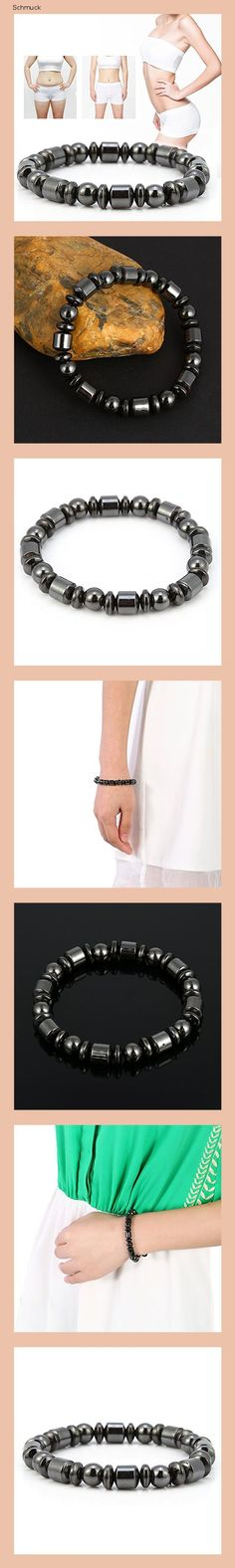 Magnetisches Gewichtsverlust Armband, Gesundheits Armband, Titan Stahl Armband stilvolles Abnehmen Armband Schmuck Schwarz Stein Armband Gesundheitswesen Magnetfeldtherapie Armband (1) - 14he
