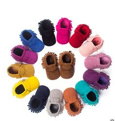 Sıcak PU Süet Deri Yenidoğan Erkek Bebek Kız Bebek Moccasins yumuşak Moccs Ayakkabı Bebe Saçak Yumuşak Soled kaymaz Ayakkabı Beşik ayakkabı