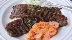 These flavorful Korean-style short ribs have an Asian pear-spiked marinade. Grilled Short Ribs, Grilled Beef, Beef Short Ribs, Beef Ribs, Chef John Recipes, Rib Recipes, Asian Recipes, Cooking Recipes, Healthy Recipes