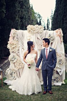 Eclectic backdrop: http://www.stylemepretty.com/2013/08/14/southern-california-wedding-from-a-good-affair/   Photography: Clayton Austin - http://loveisabird.com/