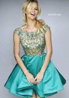 b5069bade84 V-Back Emerald Beads 2015 Sherri Hill 32273 Cap-Sleeves Short Cocktail Dress