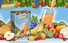 Illustration of mixed fruit used in fruit juice packaging illustrated by Malane Newman.