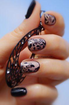 Black lace #nail #nails #nailart #unha #unhas #unhasdecoradas