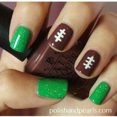 Ready for Super Bowl: 26 Amazing Football Nail Art Designs - Nails 💅 Love Nails, How To Do Nails, Fun Nails, Pretty Nails, Sport Nails, Style Nails, Easy Nails, Shiny Nails, Easy Nail Art
