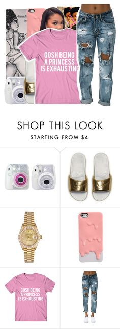 """""""cc gvg"""" by baby-trilldolls ❤ liked on Polyvore featuring NIKE, Rolex and White Ice"""