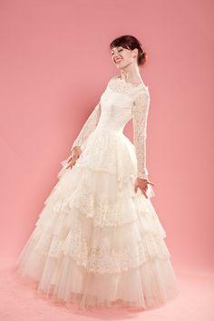 Vintage 1950s Lace Wedding Dress Cupcake Tulle Ruffles 1960s Bridal Fashions. $575.00, via Etsy.